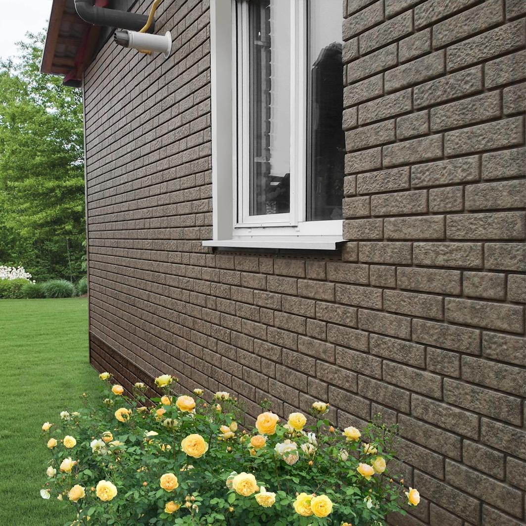 Ю-Пласт Stone House кирпич - сочетание цветов на фасаде